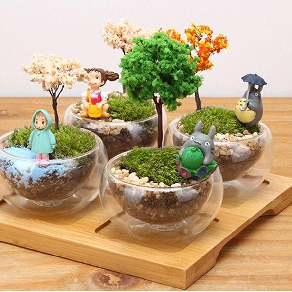 totoro tree simulation mini pot culture resin craft landscape home garden decoration diy showcase microlandschaft miniascape - Home Garden Decoration
