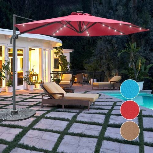 34862c774dd26 Sundale Outdoor 10FT Solar Powered 28 LED Lighted Umbrella Hanging Roma  Offset Umbrella Outdoor Patio Sun Shade Cantilever Crank Canopy, Red