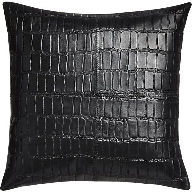 """Black Leather Sofa Throw Pillows: 16"""" Black Leather Croco Pillow With Feather-down Insert"""