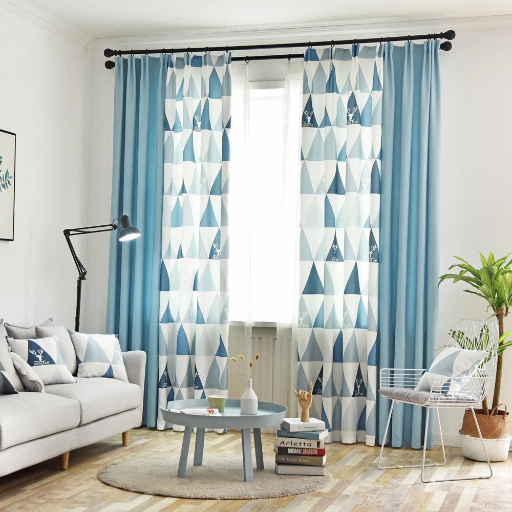 Ideen Für Ein Schönes Wohnzimmer: Moderner Vorhang Einfärbig Und Dreieck Motiv Für