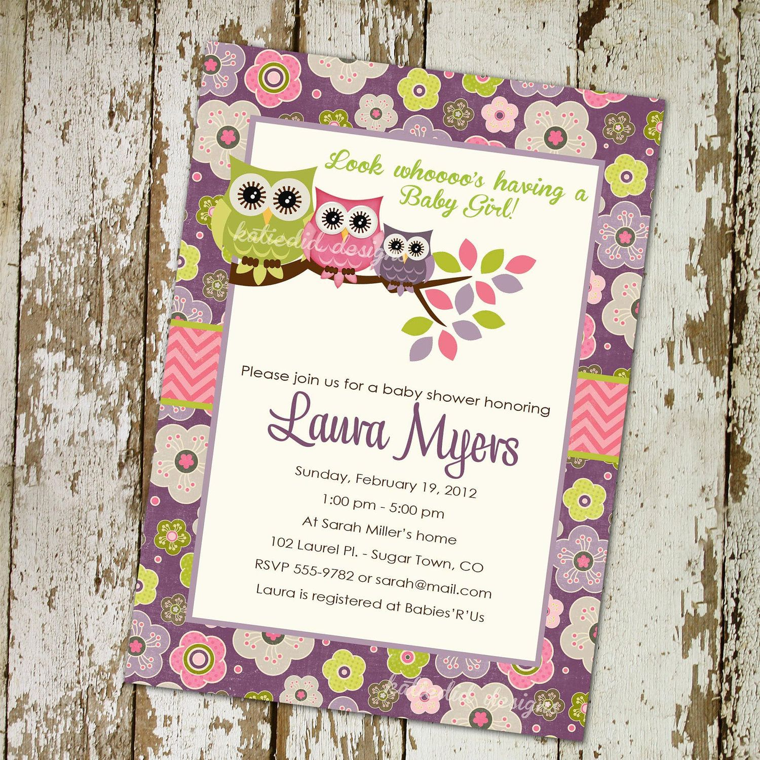 Owl Baby Shower Invitations With Owls, Purple, Pink And