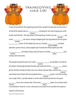 Thanksgiving Mad Lib #thanksgivingcrafts