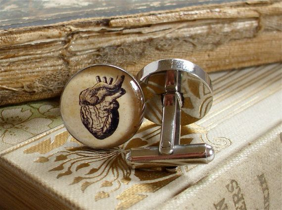 Anatomical Heart Cufflinks / Cuff Links in by TheLysineContingency, $40.00