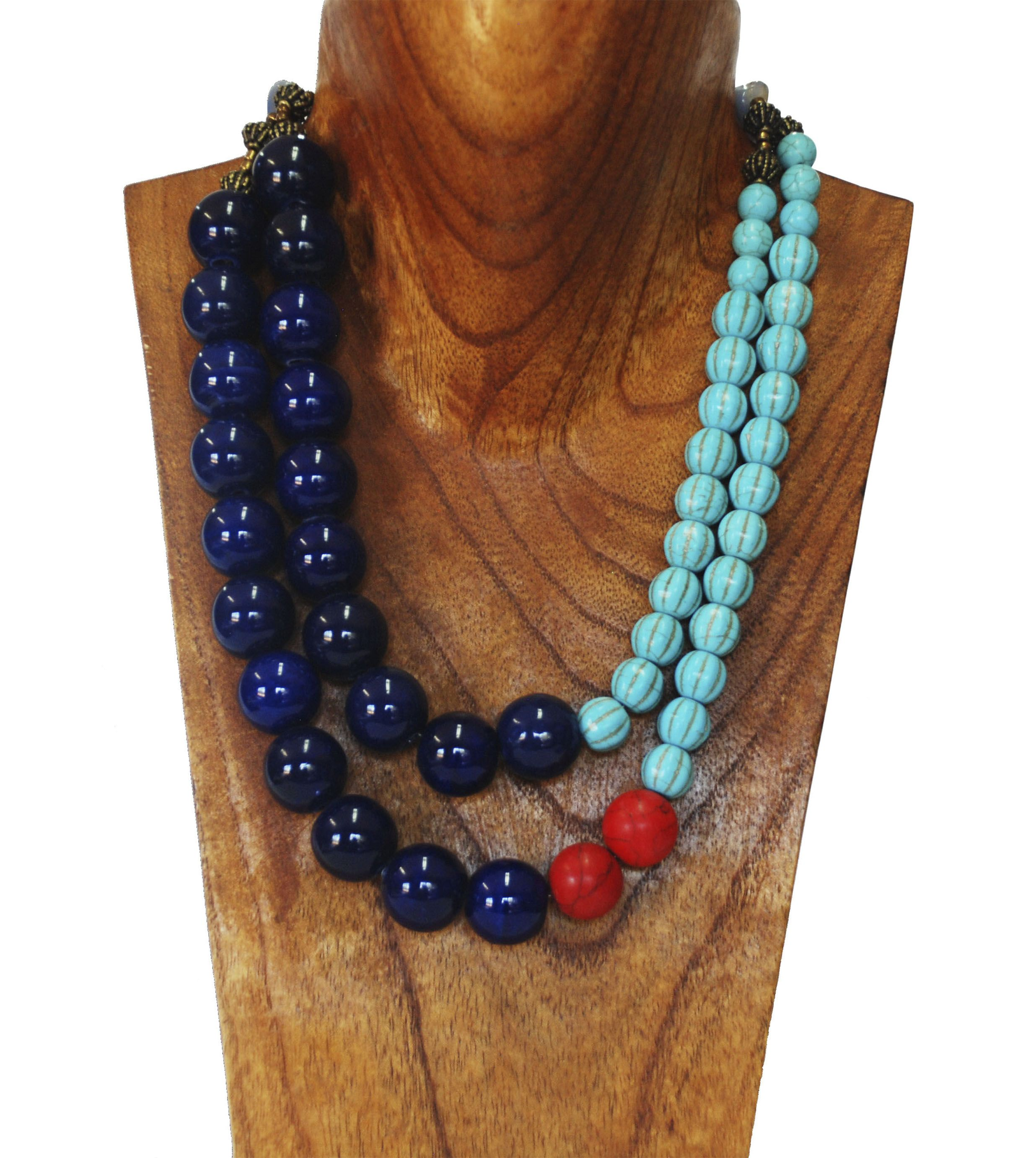 jewelry african bead ceremonial wedding tribal necklace blue products beads kiffa mali red vintage trade bib
