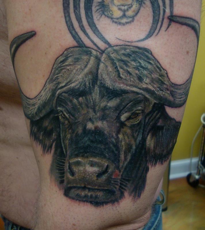 cape buffalo african buffalo black and grey realistic animal arm african animal tattoos. Black Bedroom Furniture Sets. Home Design Ideas