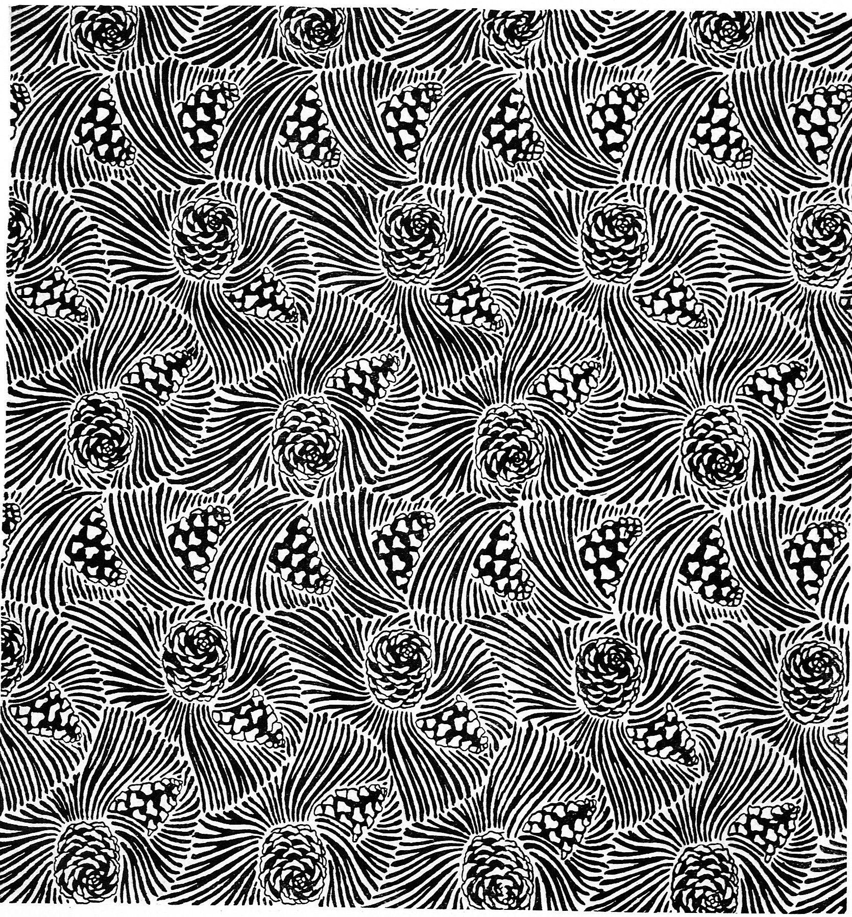 """""""Pinus austriacus"""", design for a tapestry, seamless pine cone and pine needle, from the periodical Ver Sacrum (Mittheilungen der Vereinigung Bildender Künstler Österreichs), April 1899"""