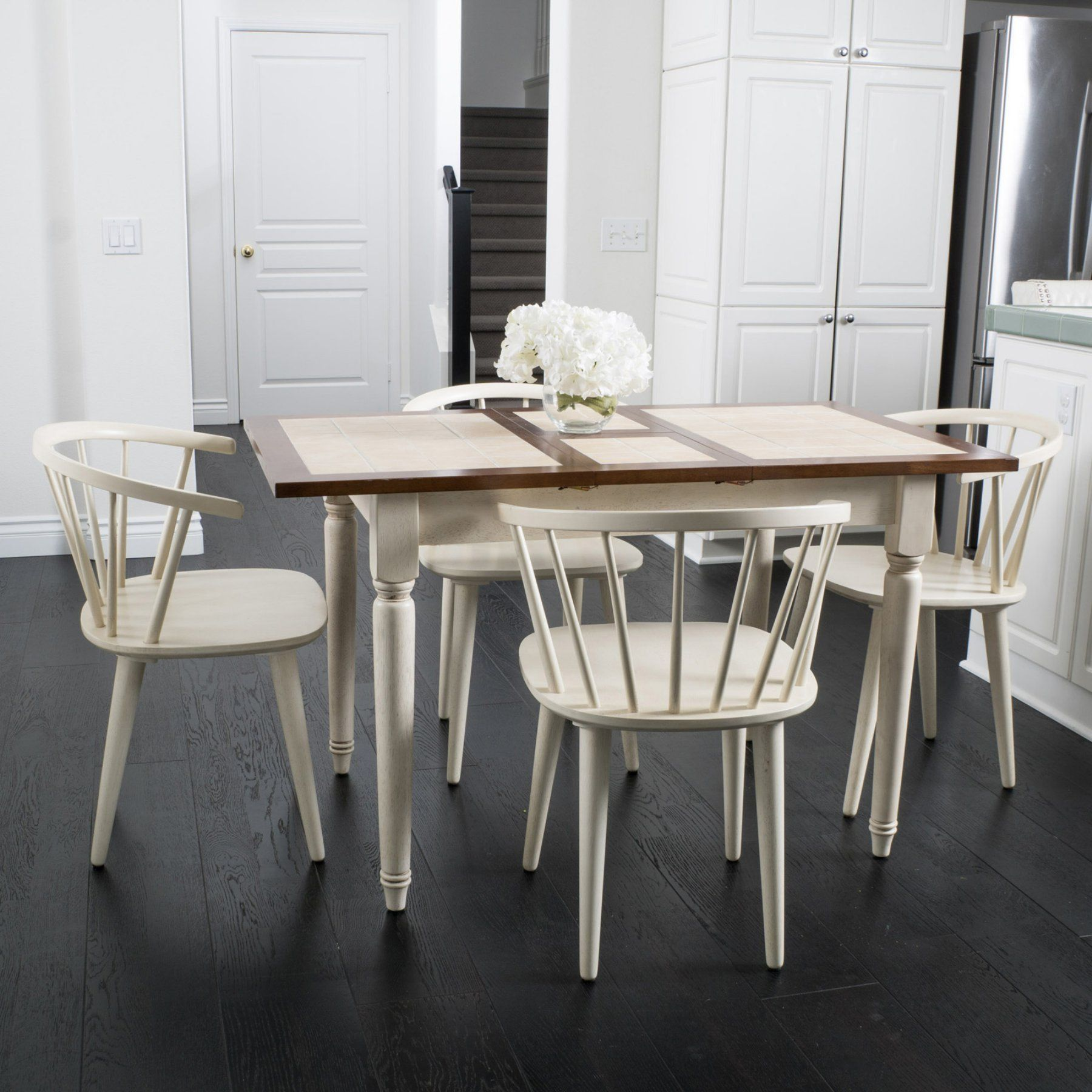 Best Selling Home 5 Piece Rectangular Dining Table Set Antique