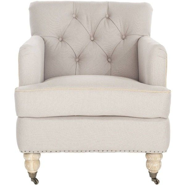 Safavieh Colin Tufted Upholstered Club Chair Taupe/beige ($345) ❤ Liked On  Polyvore