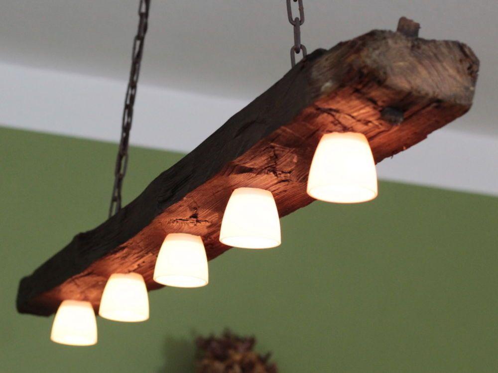 Hängelampe, Deckenlampe, Lampe, rustikal, Holz, Holzbalken, LED ...