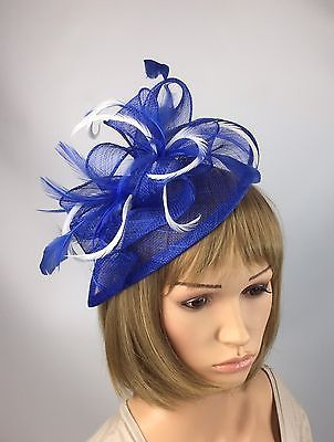 Royal Blue And White Fascinator Occasion Wedding Races Mother Of The Bride   81a73f29da2