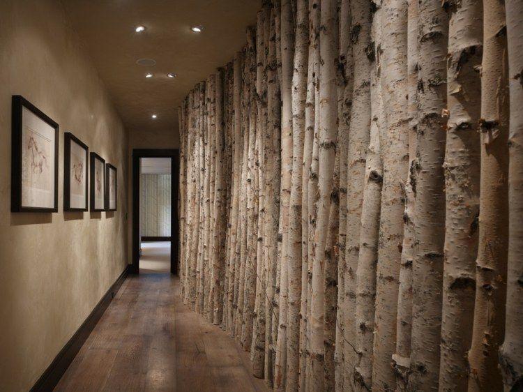Trennwand Oder Wandgestaltung Mit Birkenstämmen