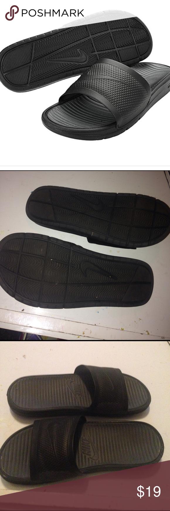 Black sandals size 11 - Nike Mens Benassi Solarsoft Black Sandals Shoes 11 431884 001 Xl Men S Size 11 Flats