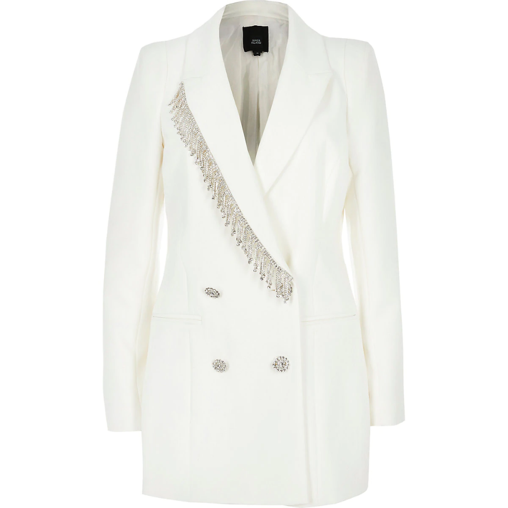 Double-breasted blazer with rhinestone application and hand-attached brooches