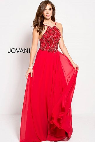 Red Embellished Bodice Flowy Chiffon Prom Dress Jovani 59076 Red ...
