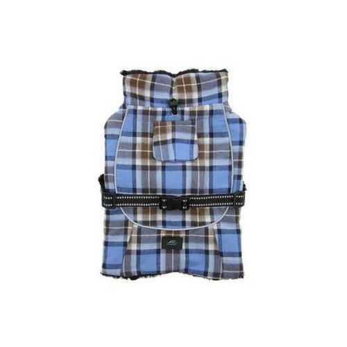 Alpine All-Weather Dog Coat — Flannel Brown and Blue Plaid