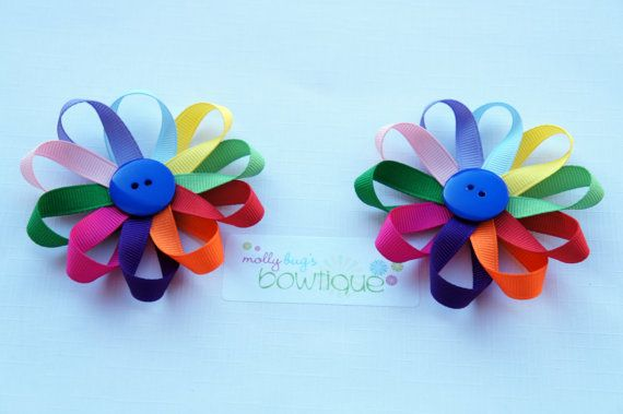 Daisy Girl scout flower clip by MollyBugsBowtique on Etsy