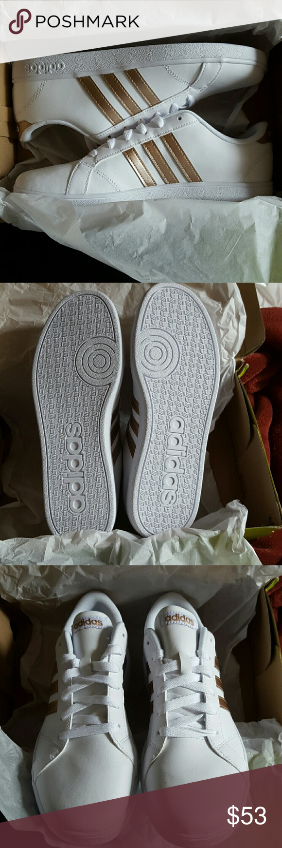 Brand new Adidas neo baseline white wrose gold These are