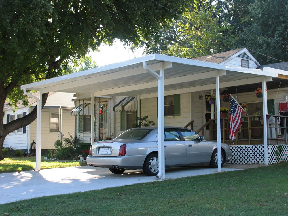 20' x 20' Wall Attached Aluminum Carport Kit (.019), Patio