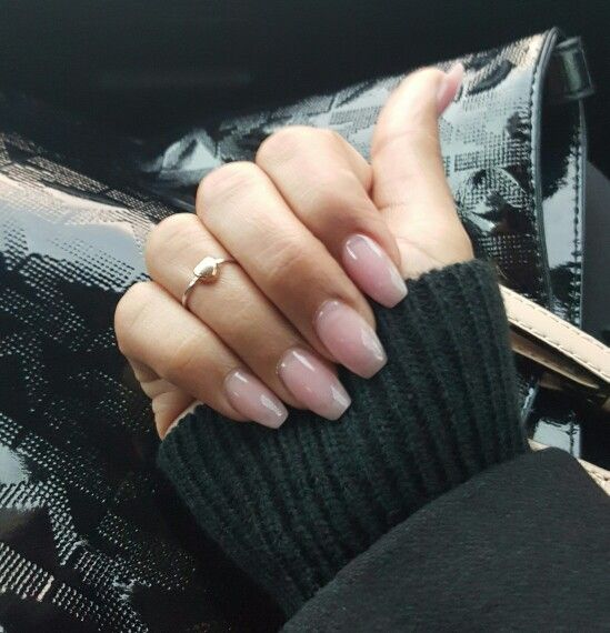 Pink coffin nails #pinkpowder #overlay #natural #simple | Beauty ...