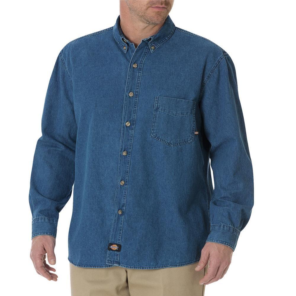 Dickies Mens Indigo Blue Long Sleeve Button-Down Work Denim Jean Shirt WL300SNB