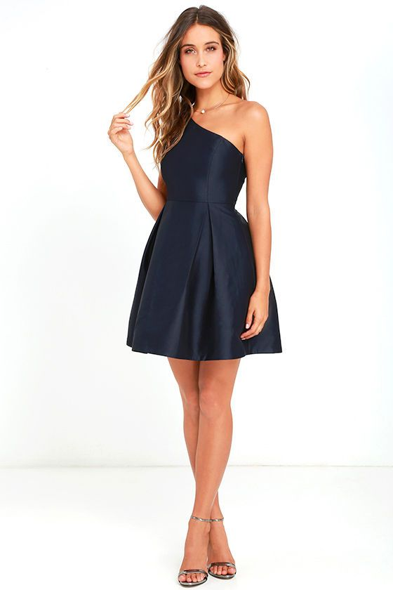 Navy Blue One Shoulder Dress