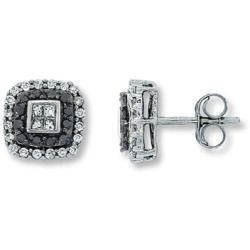 Jared Black Diamond Earrings 1 2 Ct Tw Princess Round 14k White Gold