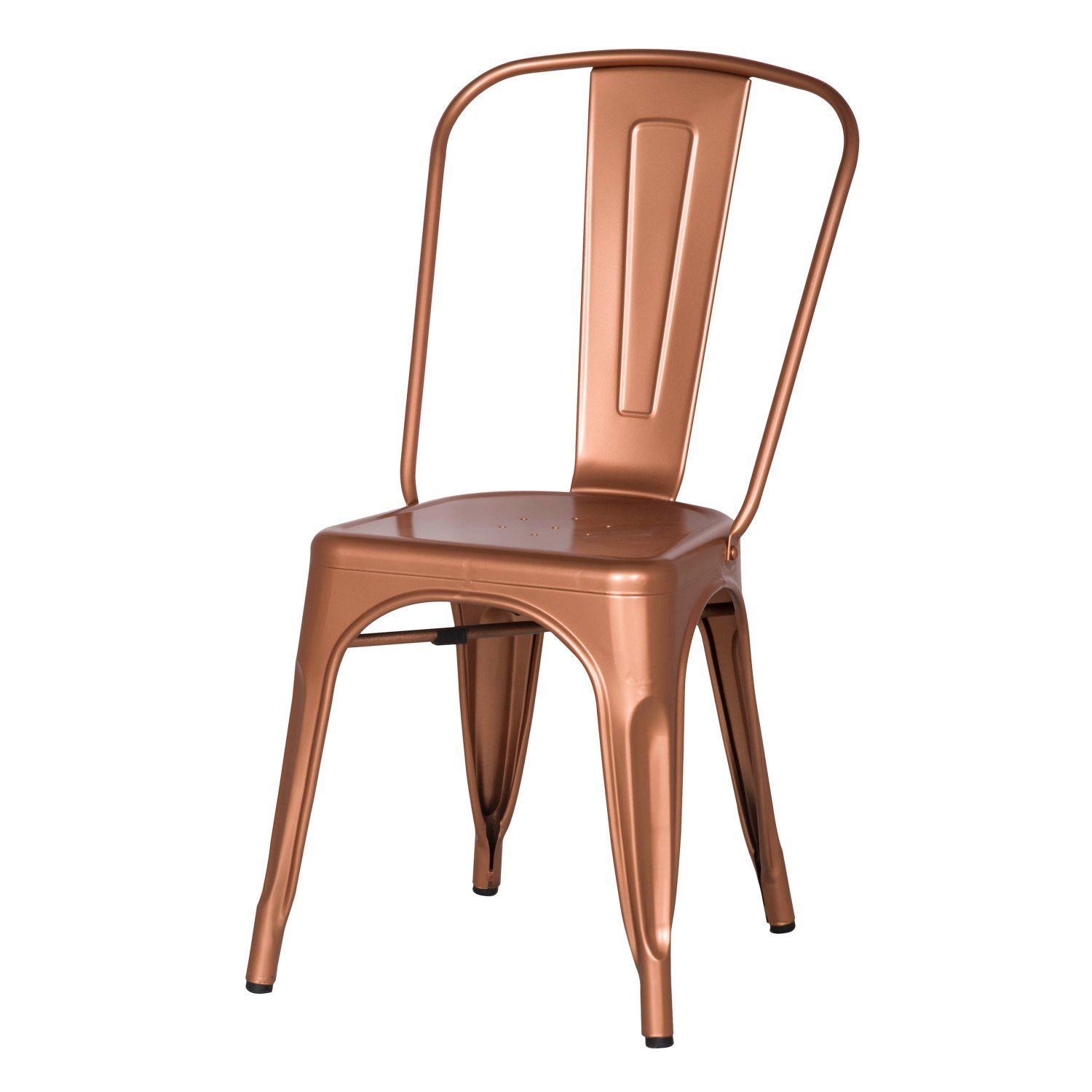 Adeco metal stackable industrial chic dining bistro cafe side chairs - Adeco Metal Stackable Industrial Chic Dining Bistro Cafe Side Chairs Copper Set Of 2