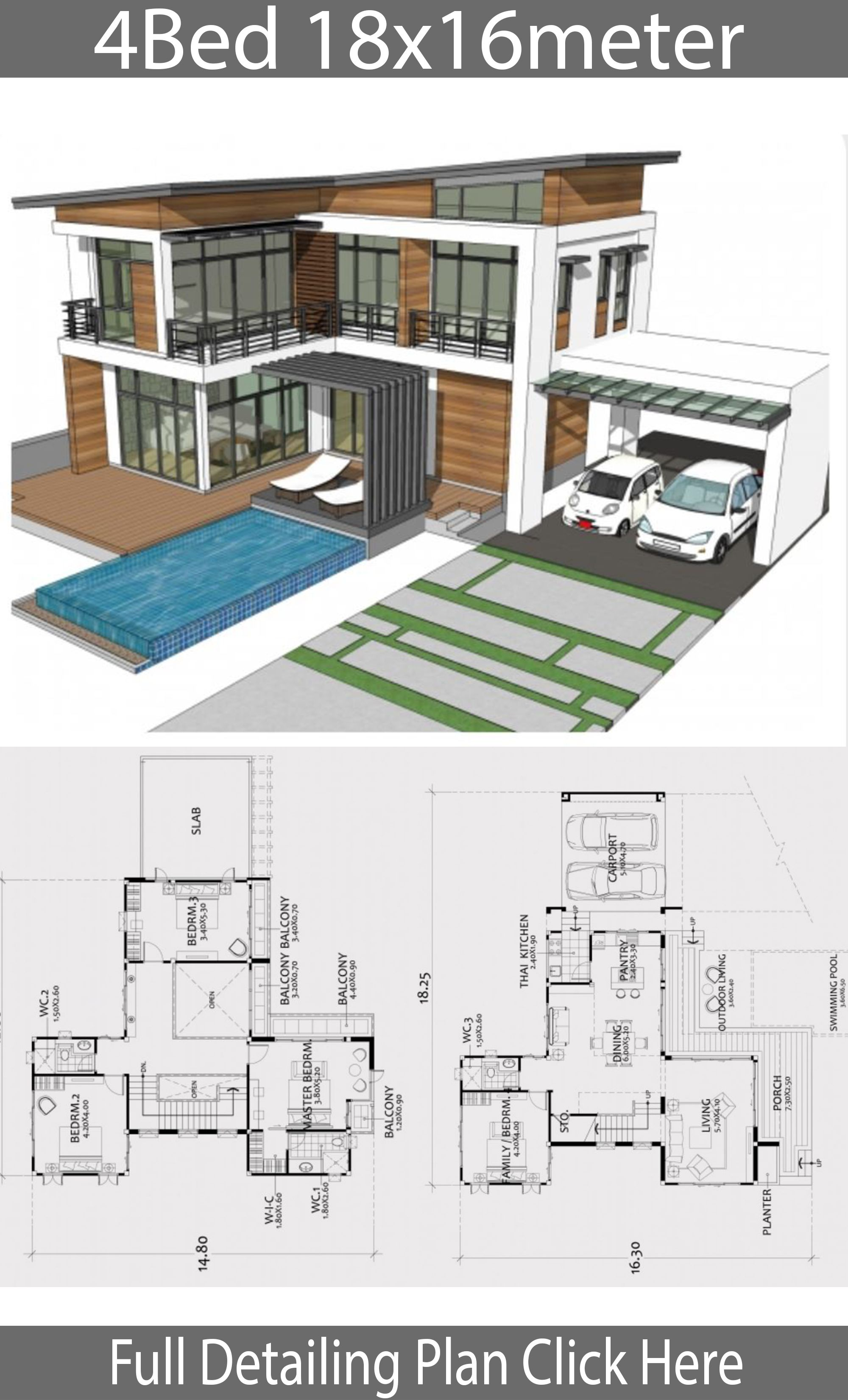 Home Design Plan 18x16m With 4 Bedrooms Modern Contemporary