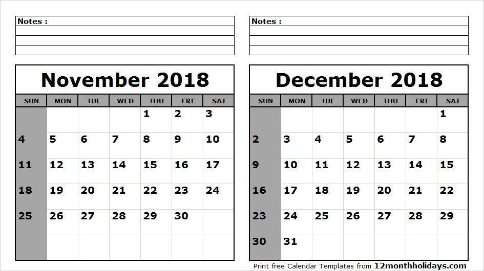 November December 2018 Calendar Printable Top 20 November 2018