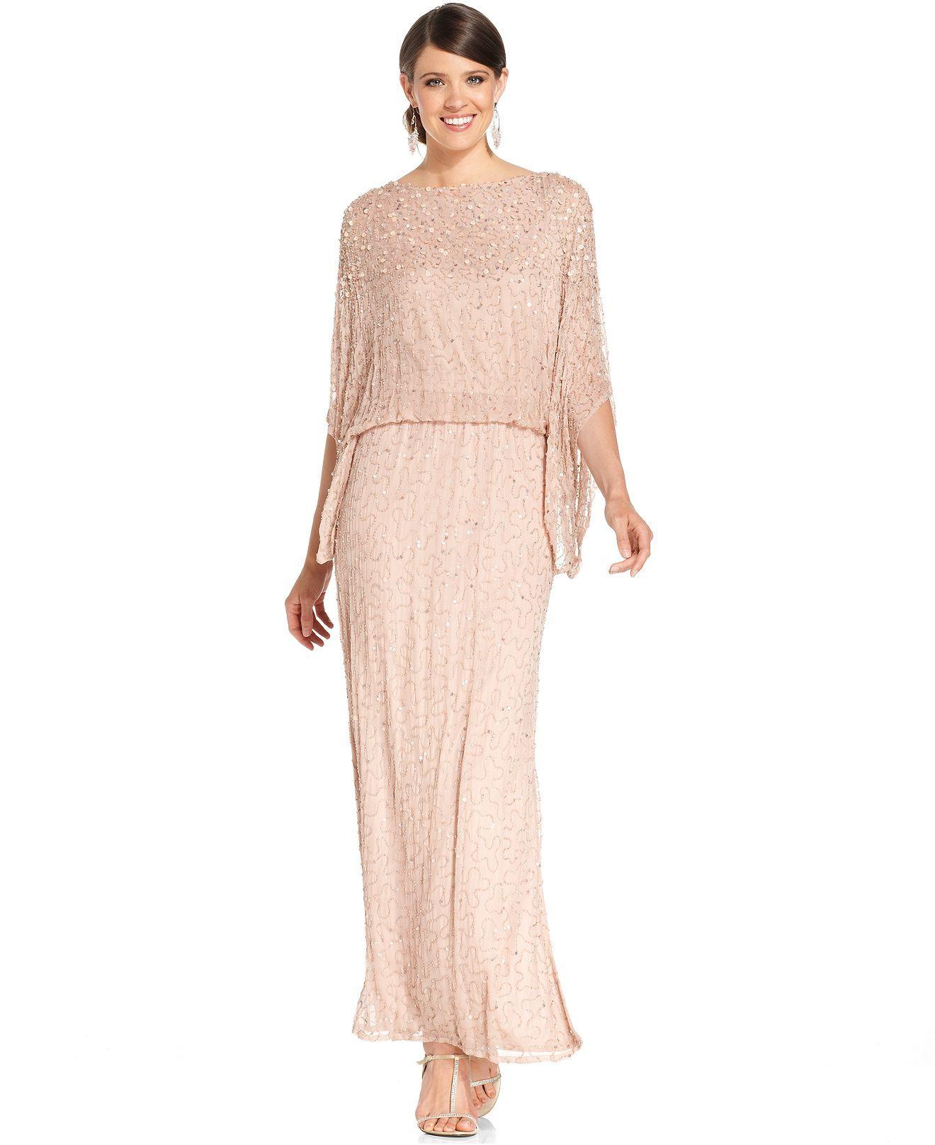 Macy's Dresses For Weddings   Patra Kimono Sleeve Beaded Blouson Gown Dresses Women Macy S