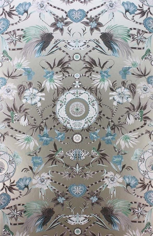 Menagerie Wallpaper in Aqua and Gilver by Matthew