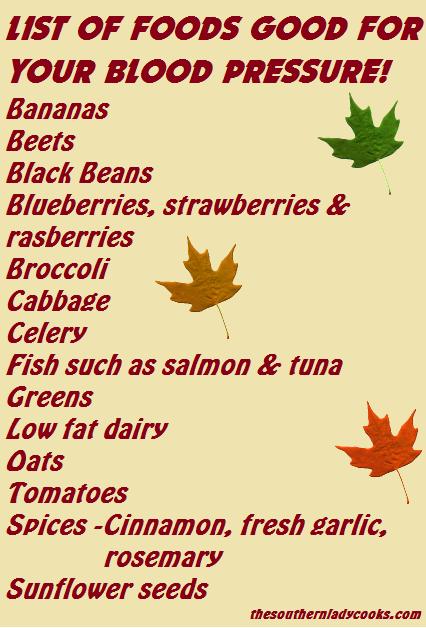 Foods for blood pressure.