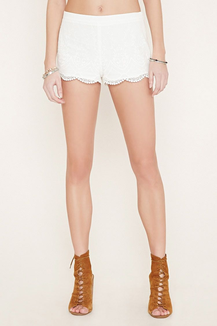 Embroidered Crochet Shorts
