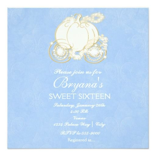 "cinderella blue princess carriage party invitation 5.25"" square, Party invitations"