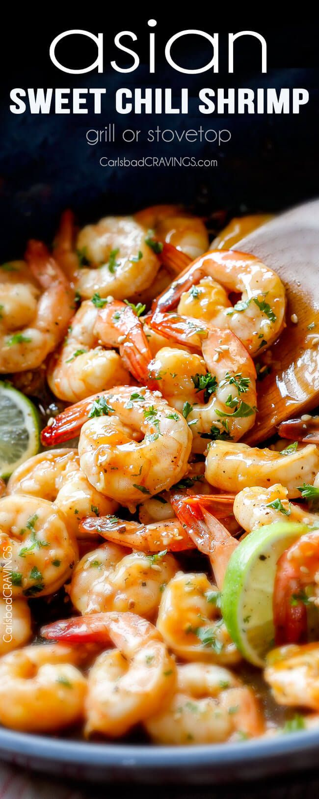 quick and easy Asian Sweet Chili Shrimp (grill or stovetop) - this is by far my favorite shrimp recipe! The tangy sweet heat sauce is incredible and its SO easy! 10 minute prep, 5 minutes to cook!