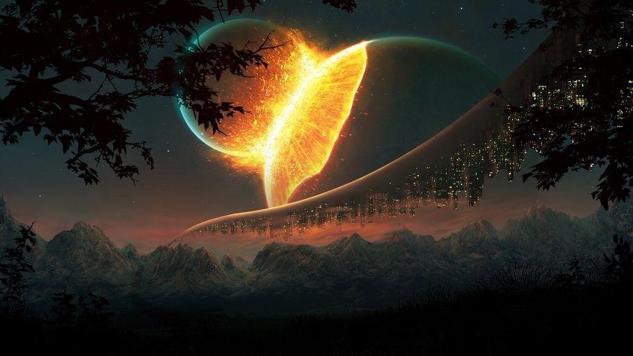 Fantasy, Nature, Moon, Mountains, Sun, Fantasy Space Meeting Moon ...