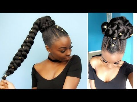 Side Ponytail And Jumbo Braid Protective Style Natural Hair Styles Braided Ponytail Hairstyles Long Hair Styles