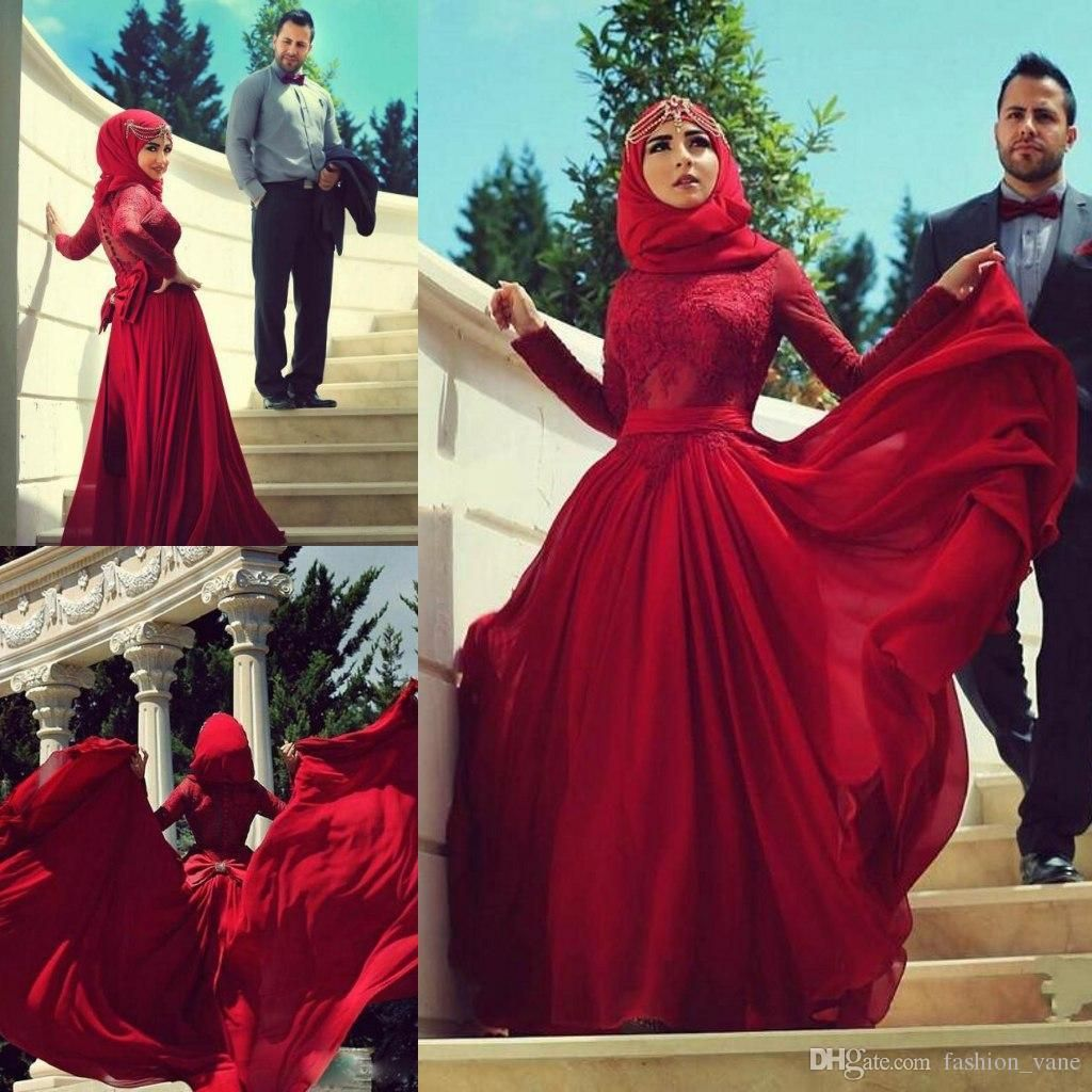 Burgundy red lace long sleeve wedding dresses high neck a line