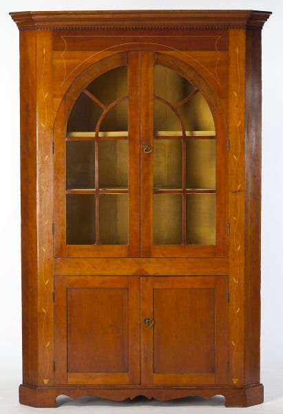 Lot 500 Kentucky Inlaid Corner Cupboard Southern Furniture Corner Cupboard Cupboard