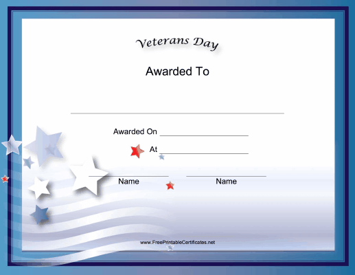 This Free Printable Veteran S Day Holiday Certificate Has A Blue