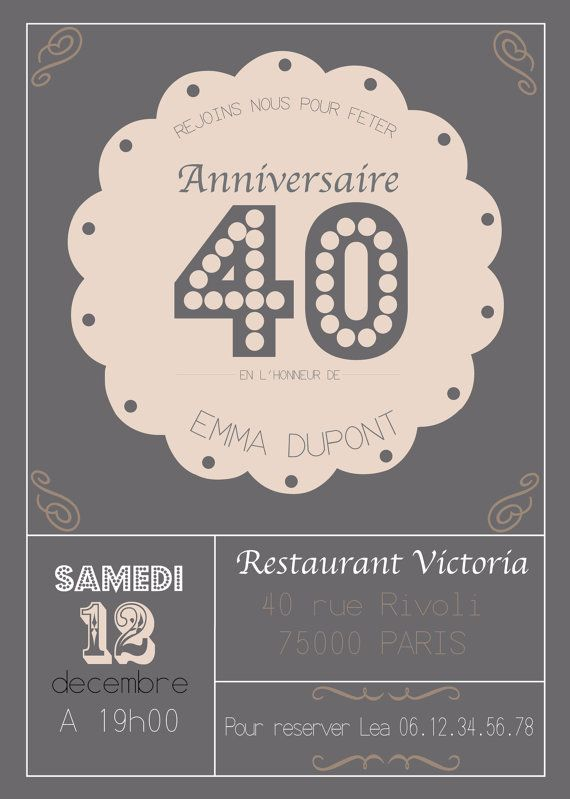 faire part invitation anniversaire 20 30 40 50 ans par artetdeco pinteres. Black Bedroom Furniture Sets. Home Design Ideas