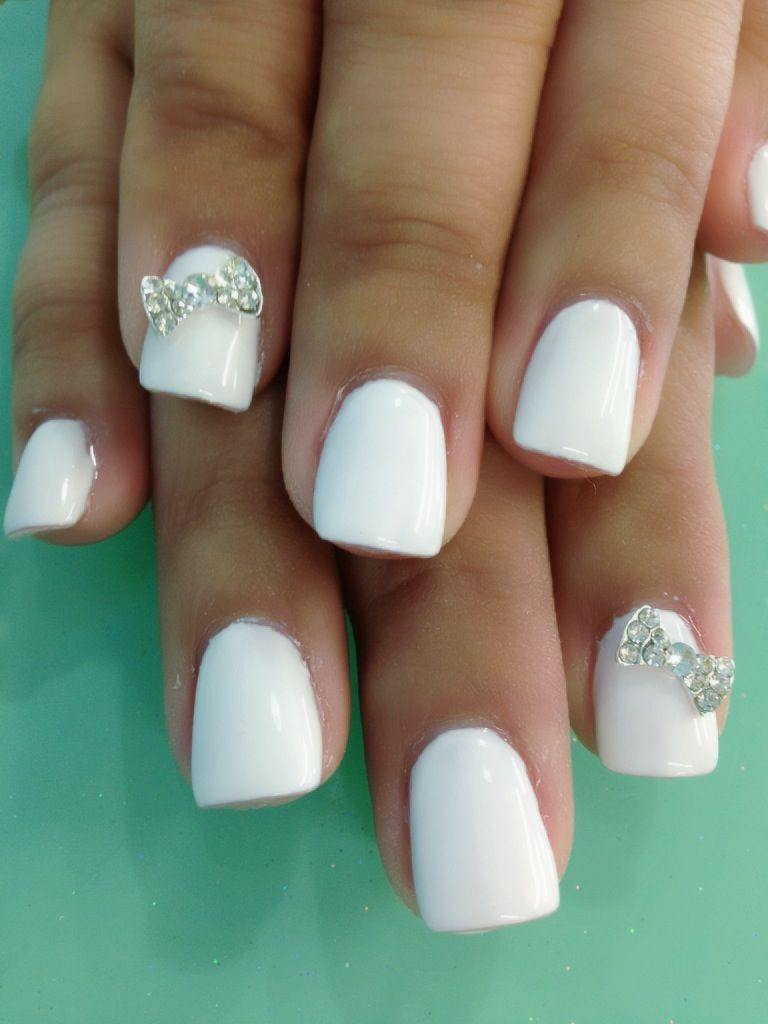 white gel nails bows design