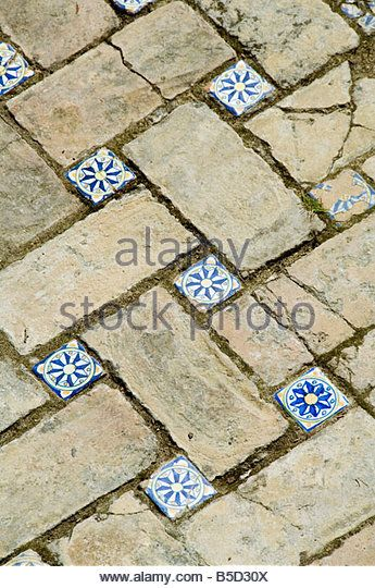 Azulejos tile work in the Mudejar style, Real Alcazar, Santa Cruz district, Seville, Andalusia (Andalucia), Spain, - Stock Photo