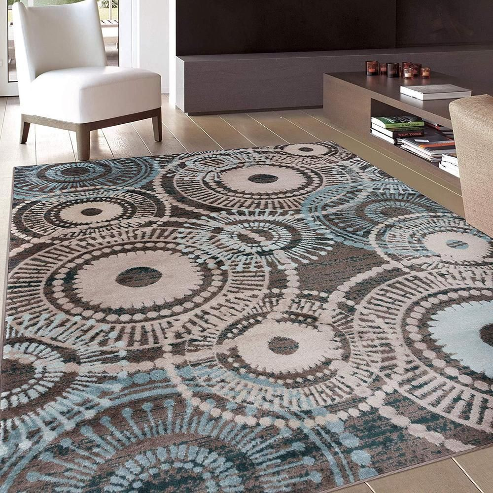Brown Teal Beige Medallion Area Rug 5 X 7 Circles Bold Color Contemporary Wrgcarpet Contemporary Brown Home Decor Area Rugs Brown Area Rugs