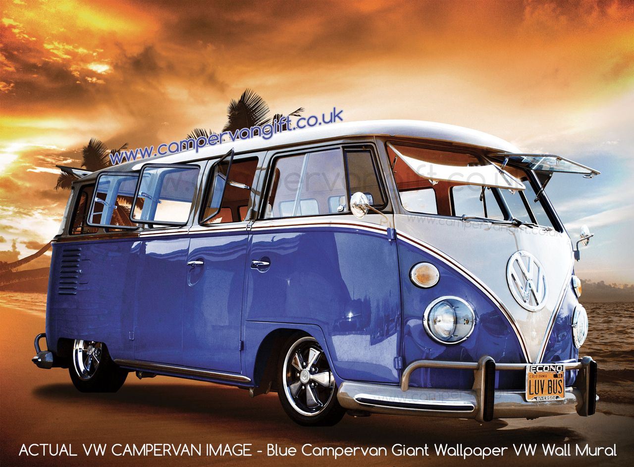 Blue Campervan Sunset Giant Wallpaper Vw Wall Mural With Images