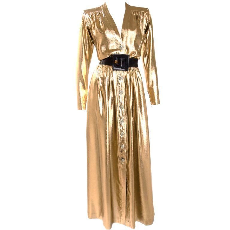 Yves Saint Laurent Gold Lame Evening Dress 1980s Fashion Fashion Vintage Fashion 1980s