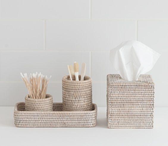 Sablon White Washed Rattan Bathroom Accessories