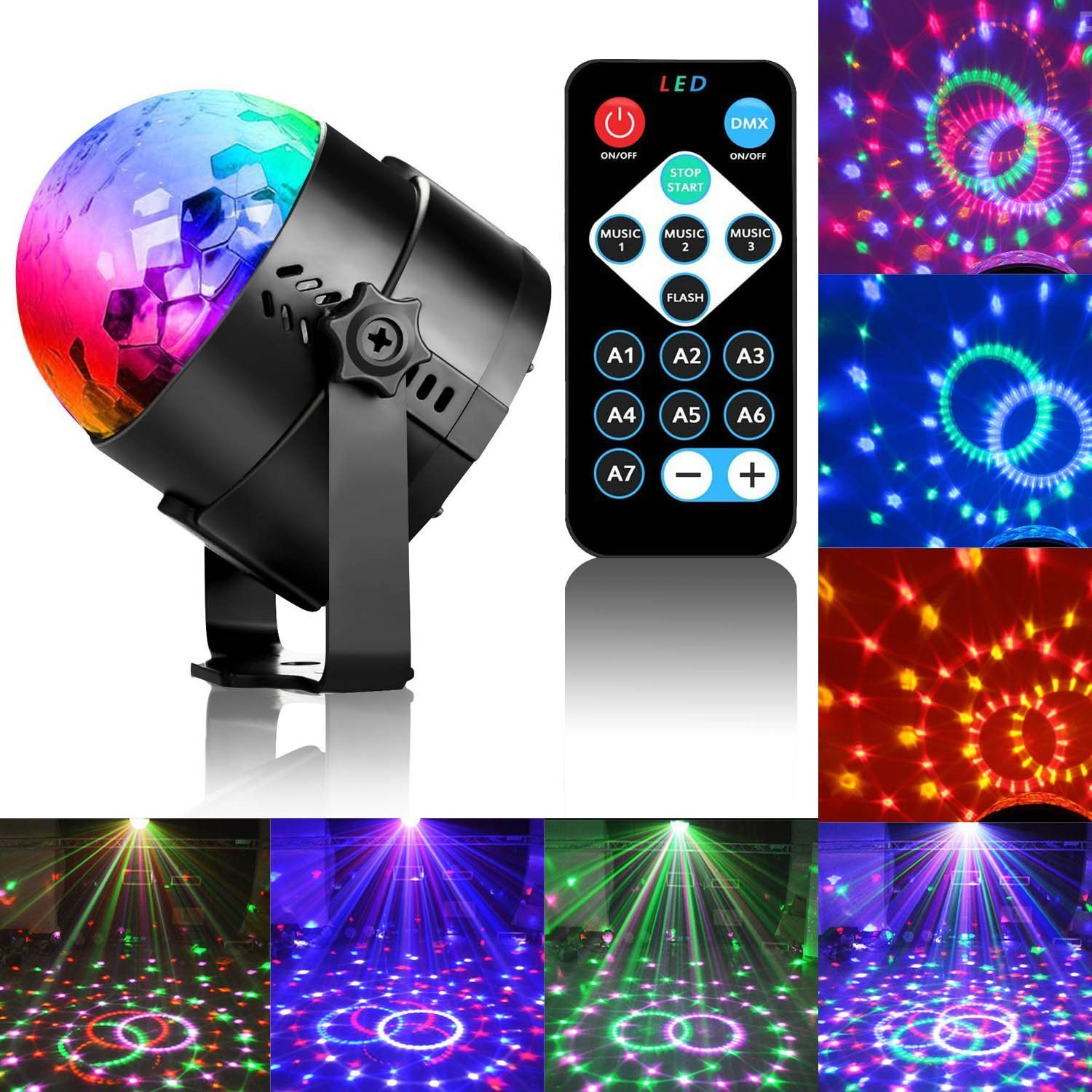 Disco Ball Led Party Dj Lights With Remote Control Rbg Strobe Lamp 7 Modes Stage Light For Christmas Parties Wedding Outdoor Decorations