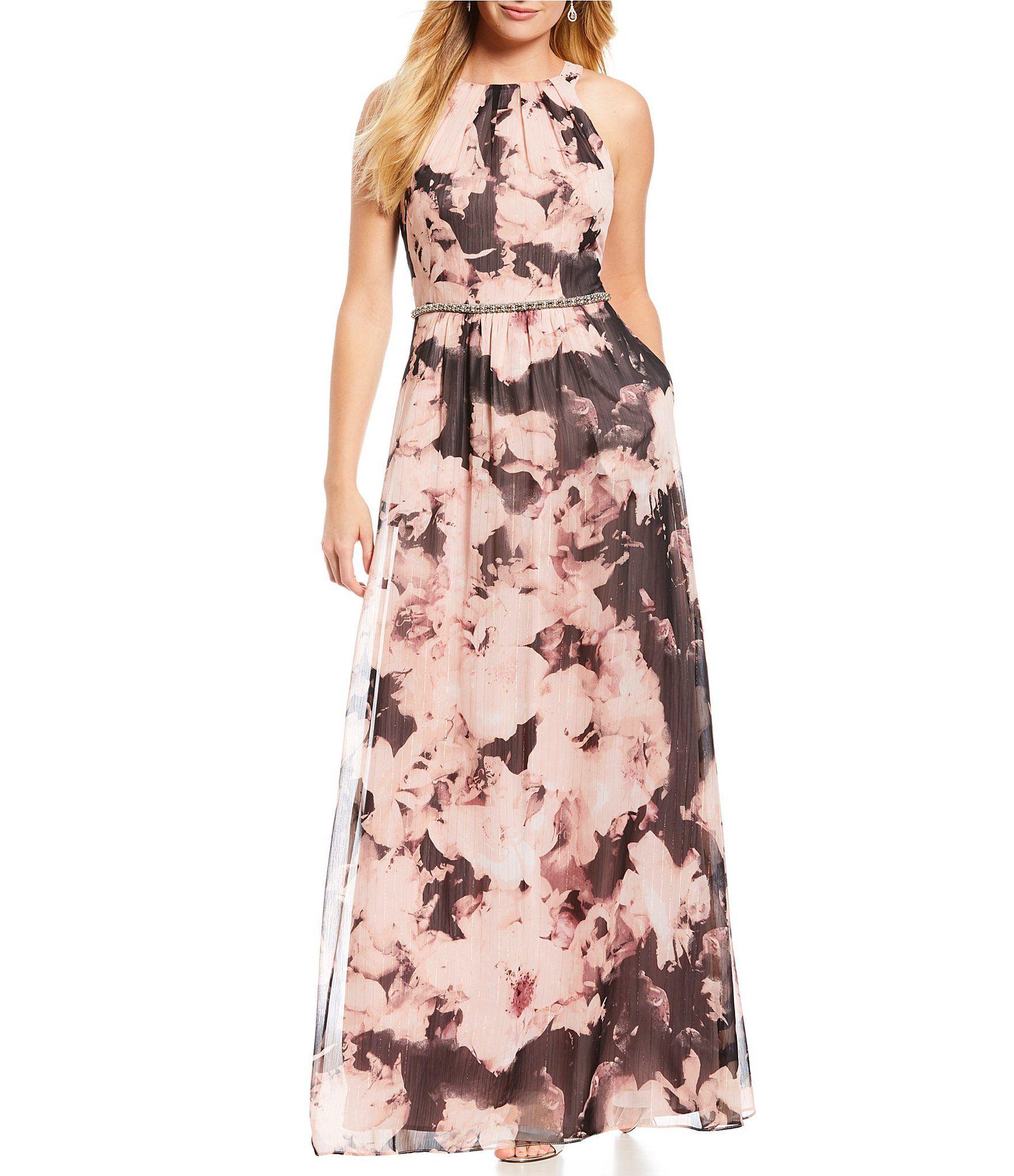 781c0494e4a Ignite Evenings Sleeveless Floral Printed Chiffon Maxi Dress  Dillards