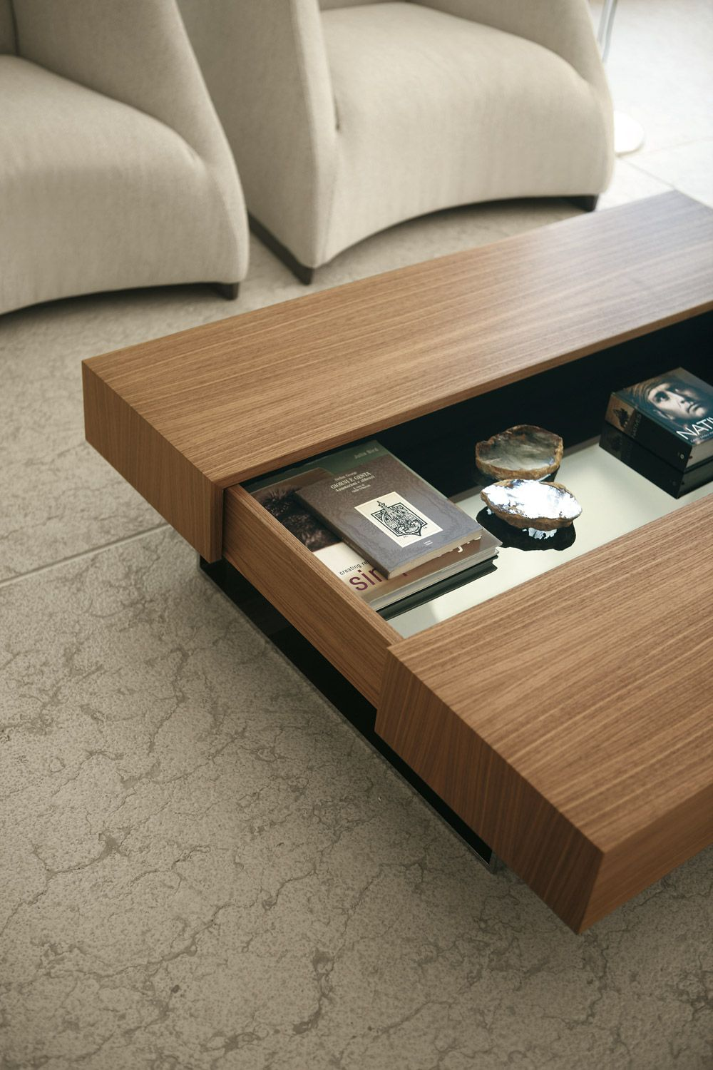 Coffee Table W Slide Open Storage